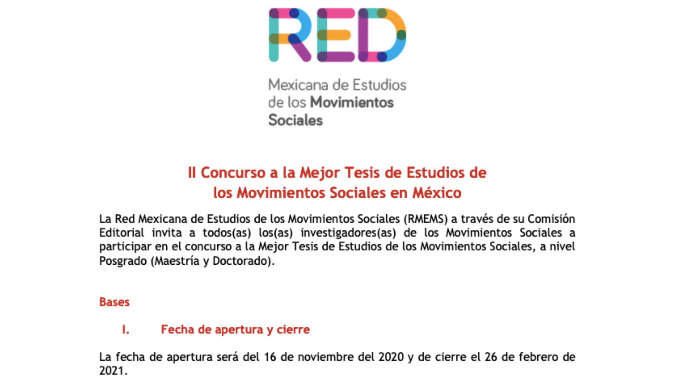 II Concurso de tesis sobre Estudios de los Movimientos Sociales en México