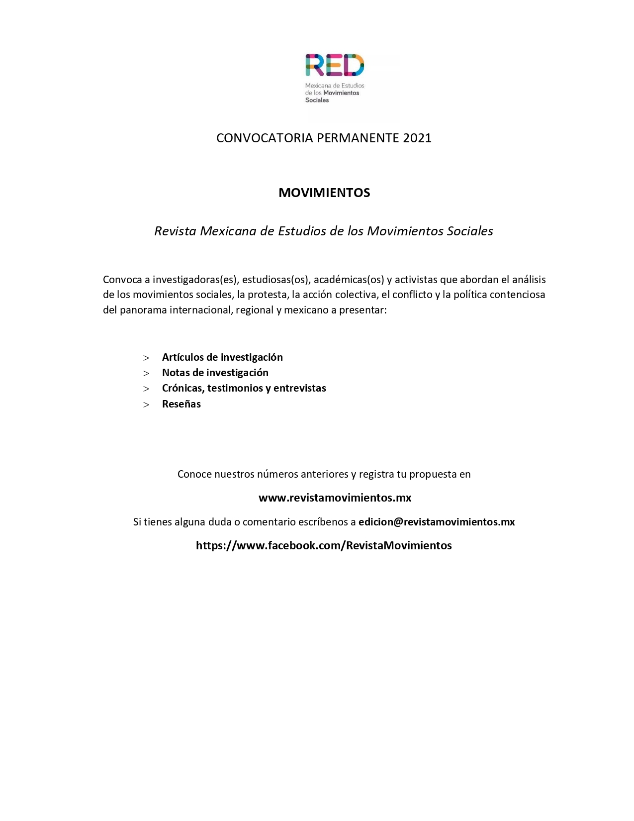 CONVOCATORIA PERMANENTE
